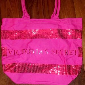 BRAND NEW VICTORIA SECRET HOT PINK CANVAS BAG